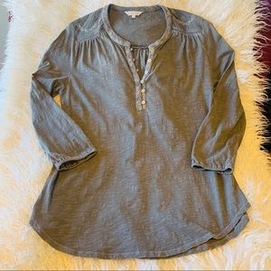 Lucky Brand Embroidered Split Neck Top